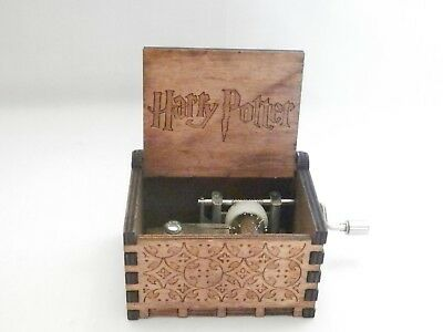 Harry Potter Engraved Wooden Music Box hand made crank Plays Theme Song.