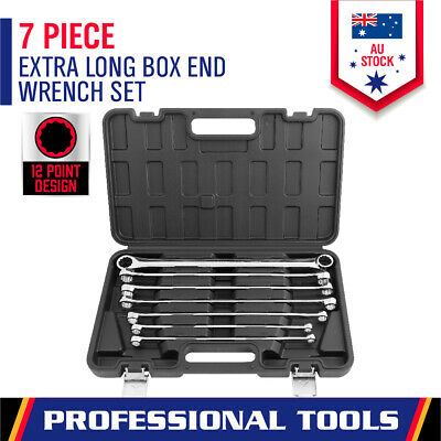 7PC Extra Long Aviation Double Ring Spanner Set 10-24mm Wrench With Canvas Pouch