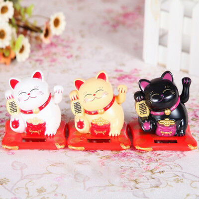 Solar Powered Maneki Neko Waving Paw Lucky Beckoning Fortune Cat Home Car Decor