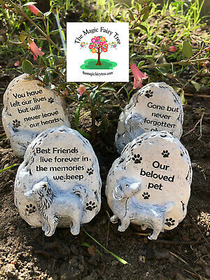 Pet Memorial Statue - Dog / Cat - Sentiment Stone / Headstone - 9cm