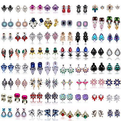 Lots Fashion Women Crystal Rhinestone Ear Clip Drop Dangle Stud Earrings Jewelry