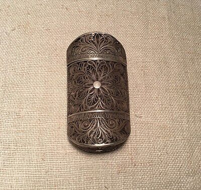 Antique European Sterling Silver Floral Filigree Hand Made Box