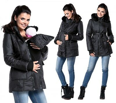 Zeta Ville - Women's maternity padded jacket removable panel babywearing - 449c
