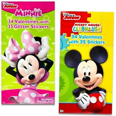 Disney Mickey Mouse and Minnie Mouse Valentines Day Cards Deluxe Set -- 68