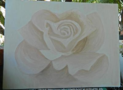 VINTAGE  Naive Art  Rose Painting