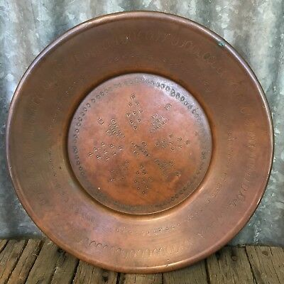 VINTAGE Italian B MAZZOLENI Solid DECORATIVE COPPER Wall Plate CHARGER