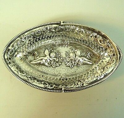 A Fine Victorian Antique Silver Embossed Dish Nathan & Hayes Birmingham 1891