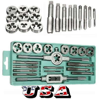 20pcs Metric Tap Wrench and Die Pro Set M3-M12 Nut Bolt Alloy Metal Hand Tools