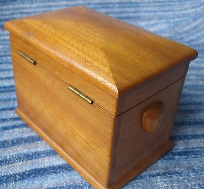 Old Vintage Wooden Hand Made Box Unusual Interesting Handles Tea Caddy? Tobacco?