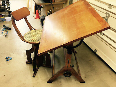 Antique Drafting Table and Chair Circa Early 1900's