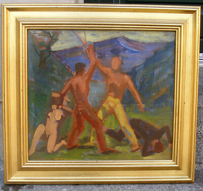 Professor Holmgreen ( 1892) The Fencers. Dated 1933. Rare early modernism.