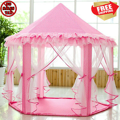 Big Pink Girls Princess Castle Tent with Large Star Lights LED String Playhouse