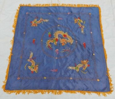 Antique Chinese 19thC Hand Embroidery Dragon Wall Hanging Panel 114X114cm