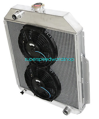 "3Row Aluminum Racing Radiator+10"" Fan for 48-52 Ford F1-F8 Truck w/Chevy L6/V8"