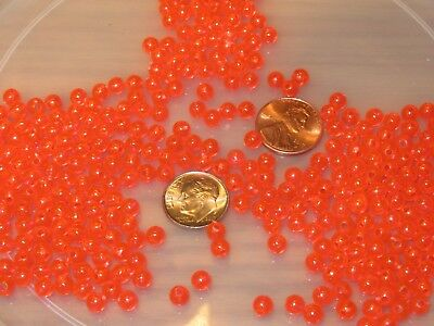 50 5Mm Round Fluorescent Red Fishing Bulk Beads Tackle Rig Hook Bead Fish Rigs