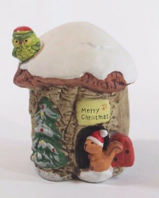 ENESCO 1978 Santa Hat OWL Chipmunk Snow Covered TREEHOUSE Ceramic Christmas BANK