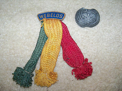 Vintage BSA Boy Scouts of America Webelos Colors Ribbon Pin Cub Scouts and BOLO