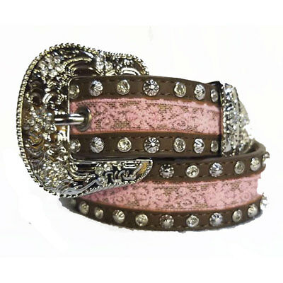 A5219 Angel Ranch 1 1/4 Inch Brown and Pink Girls' Western Belt NEW