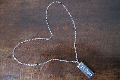 Large & Heavy Feature Hallmarked Solid Silver Ingot Pendant & Chain - 1977