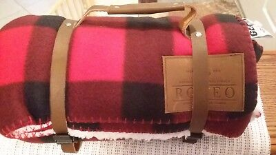 New PRCA Buffalo Fleece Throw Blanket w/Leather Carry Strap  - Red Plaid - Rodeo