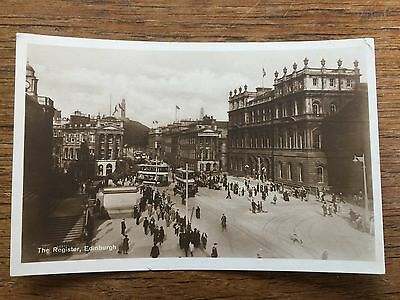 Scottish Postcard The Register & TRAMS EDINBURGH East Lothian Scotland B/W PHOTO