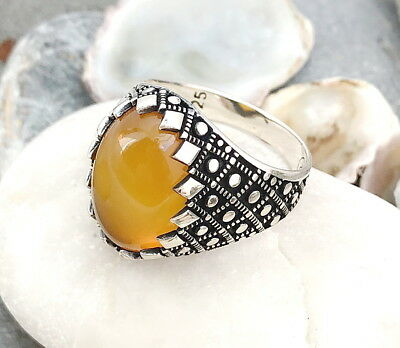 Handmade Natural Yellow Agate Stone 925 Sterling Silver Men's Woman's Ring #N8