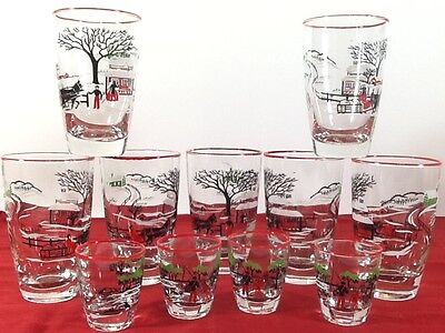 Vintage Rare Bar Glasses Winter Scene Horse Farm Red White Black