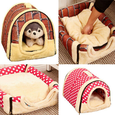 Dog House Kennel Nest With Mat Foldable Pet Bed House For Small Medium Dogs Cats