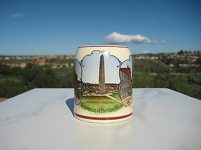 Antique Mini Souvenir Stein Mug Boston City Color Famous Views Germany  1910Th