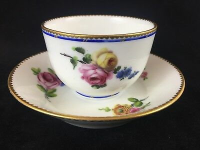 Beautiful French Soft Paste Porcelain Cup and Saucer, 18th Century
