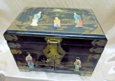ANTIQUE jewelry box Asian Oriental wooden 2500 PicClick