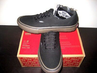 23a4a1355b7758 Vans Authentic Pro Mens Canvas Black Gum Skate Boat Shoes VN000QOD7HI  Ultracush