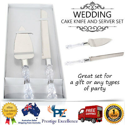 Wedding Cake Knife and Server Set Bridal Engagement Anniversary Serving Gift Box