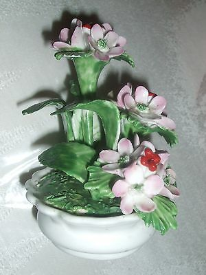 "RADNOR BONE CHINA FLOWERS 3.5"" tall red berries BOWL VASE STAFFORDSHIRE ENGLAND"