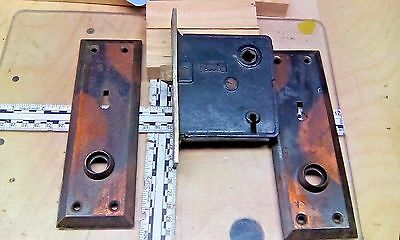 VINTAGE RUSSWIN ENTRY MORTISE LOCK with Door Plates Works Antique