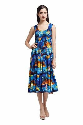 Hawaiian Luau Sundress Beach Dress Cruise Plus Size Tank Elastic Black Indri