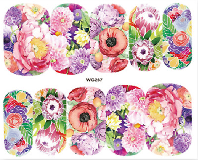 Nail Art Stickers Water Decals Transfers Colourful Flowers (WG287)