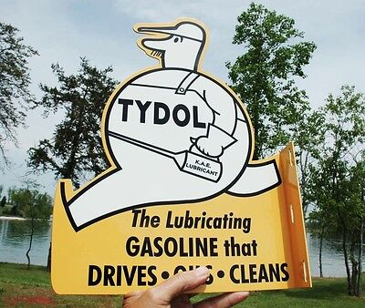 Old Style Tydol Fat Man Veedol Motor Oil Dicut Flange Thick Steel Sign Usa Made