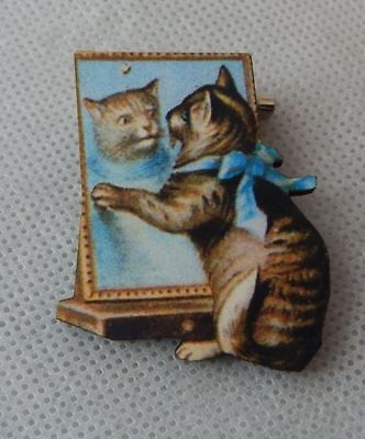 Cat & Mirror Brooch or Scarf Pin Accessories Jewelry Wood Multi Color NEW