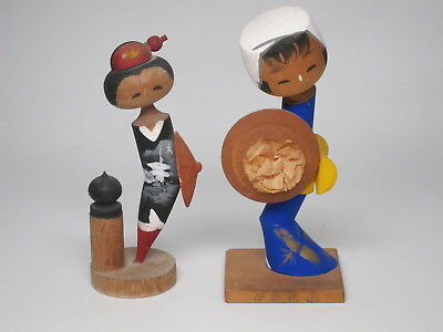 LOT of 2 VTG Kokeshi Wood Doll Paper Umbrella SIGNED Bent Doll Creative Artistic