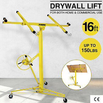 16FT Drywall Panel Lifter Plasterboard Hoist Lift Rolling Caster Lockable Tool