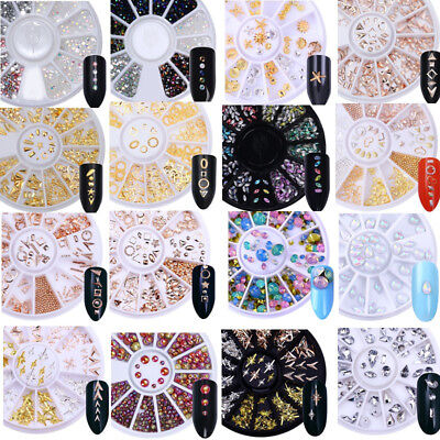 3D Nail Art Rhinestone Gem Studs Glitter Crystal Metal Decoration Wheel DIY Tips
