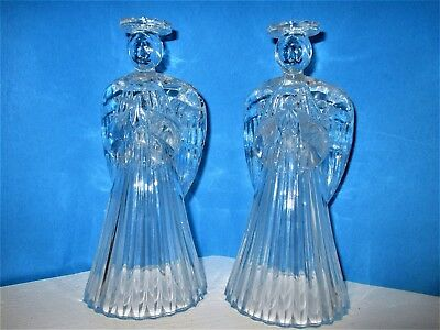 """Set Of 2 Vintage Heavy Glass Candle Holders - Praying Angel 7 1/4"""" Tall"""