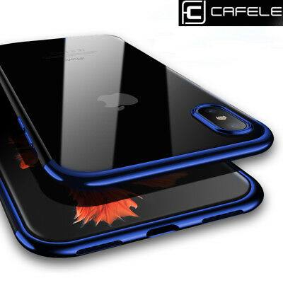 CAFELE For iPhone X 10 Case Transparent Clear Soft TPU Plating Rubber Slim Cover