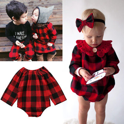 Fashion Newborn Baby Girl Plaid Romper Top Jumpsuit Bodysuit Checked Clothes USA