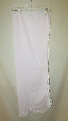 Vintage baby crib sheet coverlet Elegant Baby pink lace trim scalloped end bows