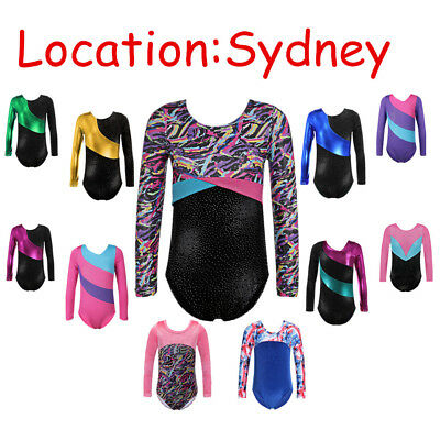 4-16Y Kid Girls Ballet Leotards Sparkle Gymnastics Bodysuits Colorful Outfits