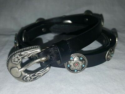 """NBEL Black Leather Silver Turquoise & Coral Concho Belt MADE IN ITALY 30"""" Small"""