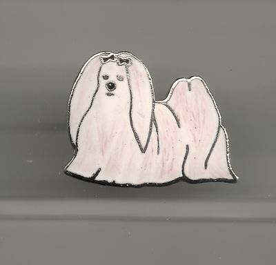 Vintage Maltese Dog small old cloisonne pin