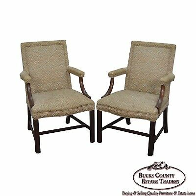 Kittinger Pair of Mahogany Chippendale Style Arm Chairs